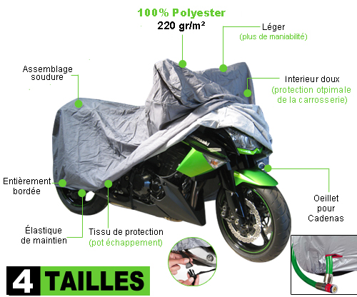 housse de protection moto polyester