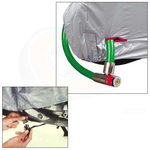 housse moto pas chere en polyester bache protection pour motos avec oeillet antivol. Black Bedroom Furniture Sets. Home Design Ideas