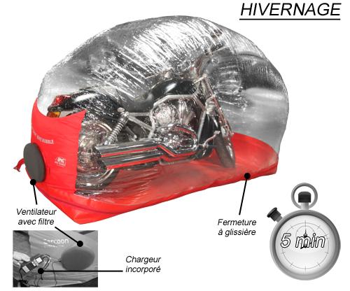 Abri gonflable pour protection motos et scooters carcoon for Bache moto exterieur