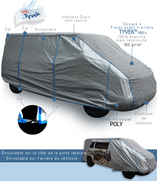 housse bache protection volkswagen combi t6 tyvek top cover. Black Bedroom Furniture Sets. Home Design Ideas
