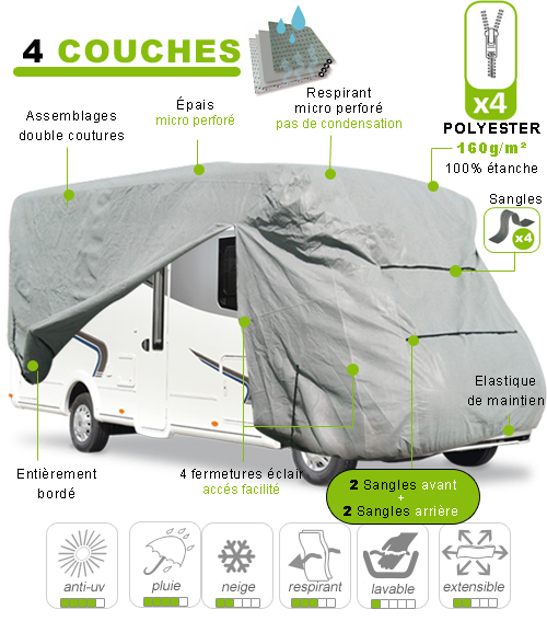 housse camping car bache protection camping car covermixt avec 2 sangles l 39 avant et l 39 arri re. Black Bedroom Furniture Sets. Home Design Ideas