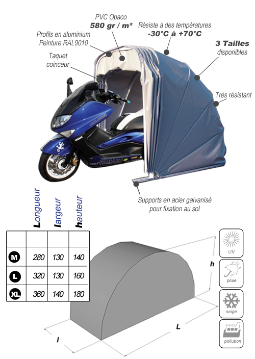 Abri moto souple type escargot motobox pour moto bache - Dimension palette europeenne ...