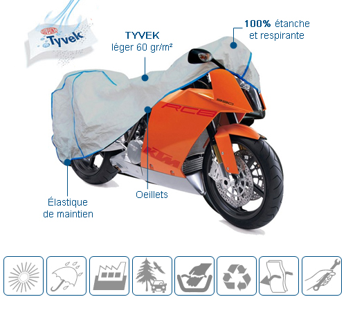 housse moto en tyvek bache protection pour motos interieure exterieure. Black Bedroom Furniture Sets. Home Design Ideas